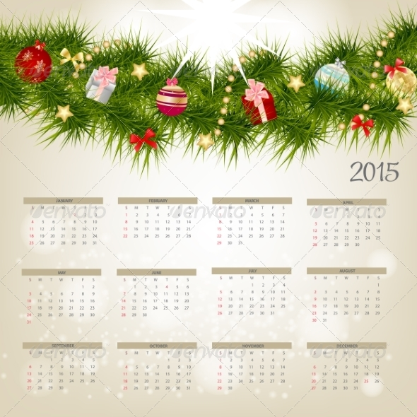 GraphicRiver Vector Illustration 2015 New Year Calendar 8188279