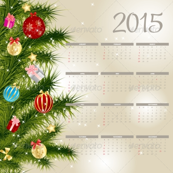 GraphicRiver Vector Illustration 2015 New Year Calendar 8188344