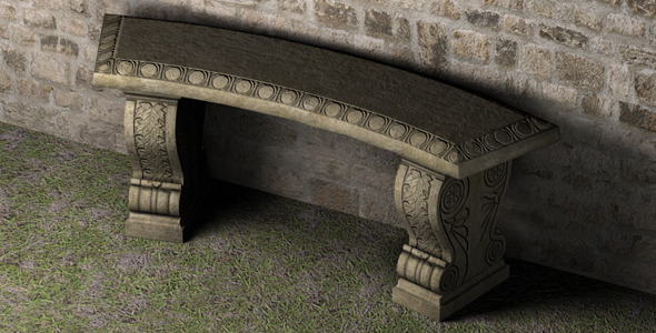 Stone Bench Low Poly
