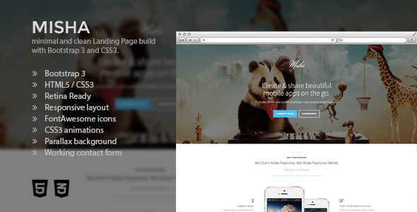 Misha - Bootstrap 3 Retina App Landing Page