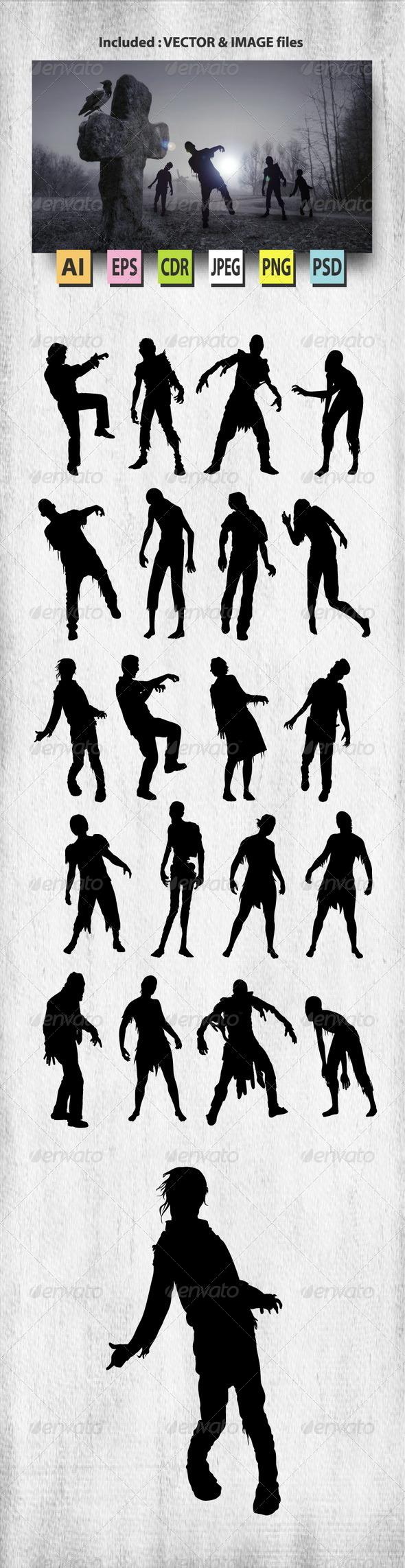 GraphicRiver Zombie Silhouettes 8188557