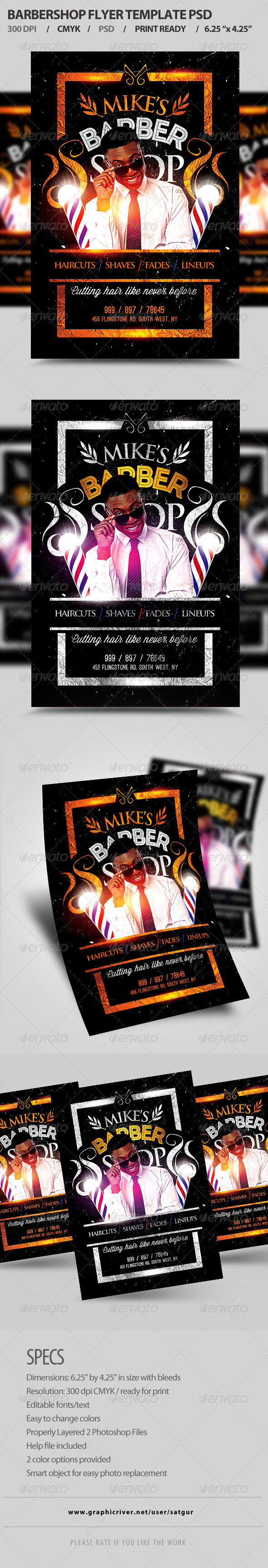 GraphicRiver Barbershop Flyer Template PSD 8188811