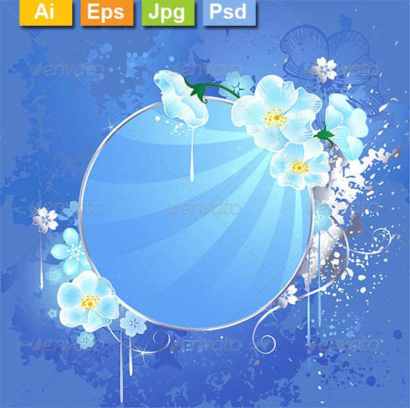GraphicRiver Round Banner with White Flowers 8189078
