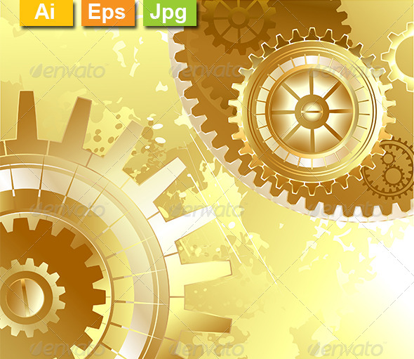 GraphicRiver Old Background with Gold Gears 8189101