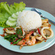 fried seafood with basil leaves on Steamed rice. - PhotoDune Item for Sale