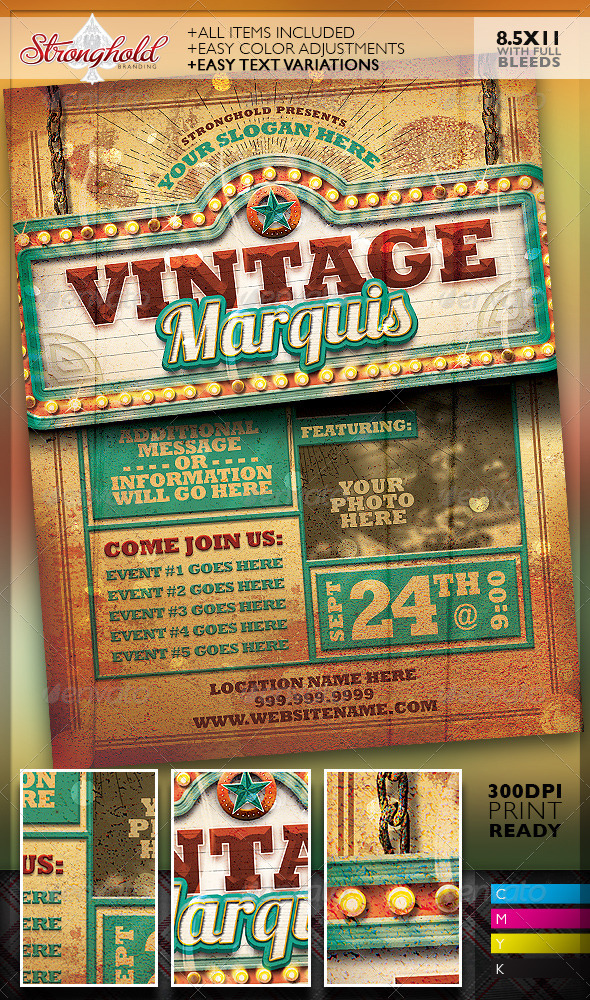 GraphicRiver Vintage Marquis Sign Flyer Template 8189206
