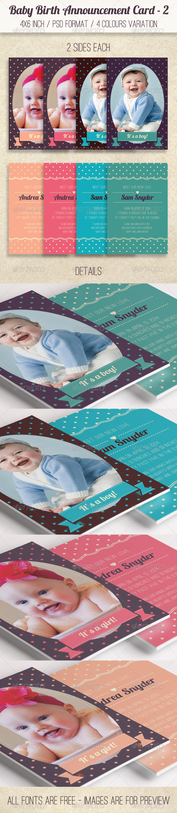 Baby Birth Announcement Card 2