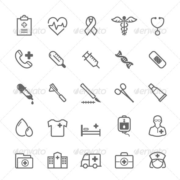 GraphicRiver 25 Outline Stroke Medical & Health Care Icons 8189302