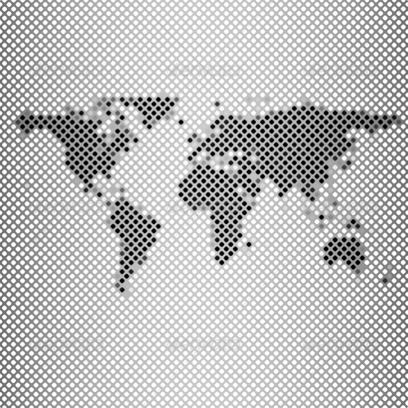 GraphicRiver Abstract Gray Mosaic World Map 8189414