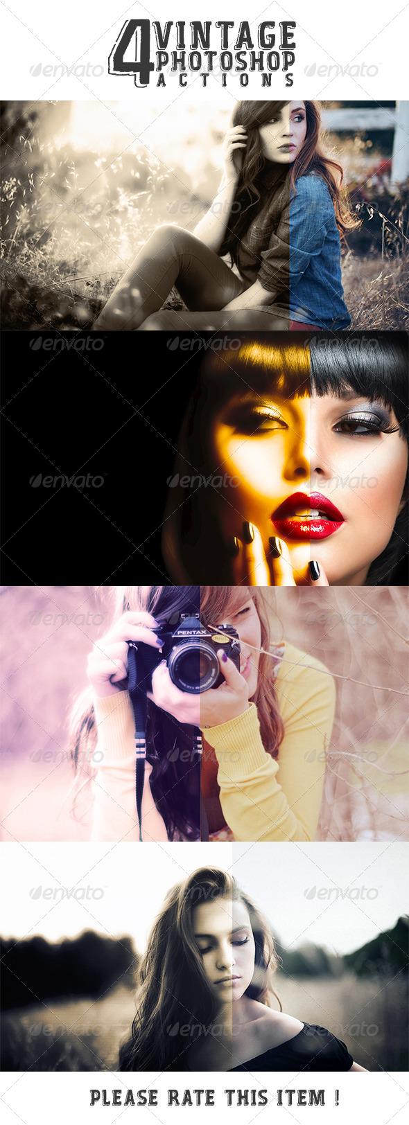 GraphicRiver 4 Vintage Photoshop Action 8189673