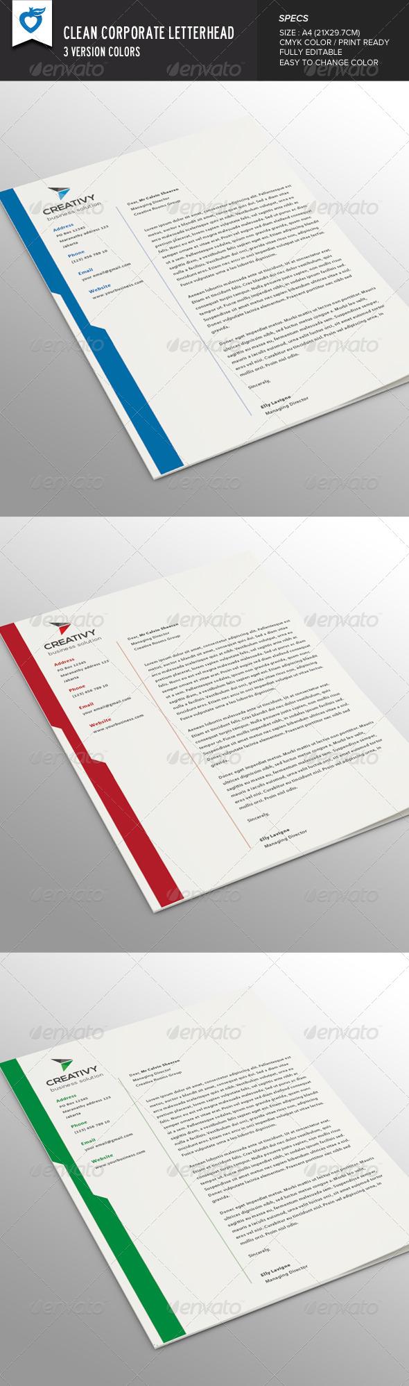 GraphicRiver Clean Corporate Letterhead 8190585