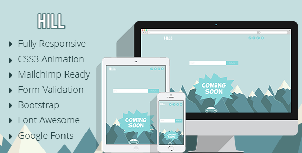 Hill - Animated Coming Soon Responsive Template - Under Construction Specialty Pages