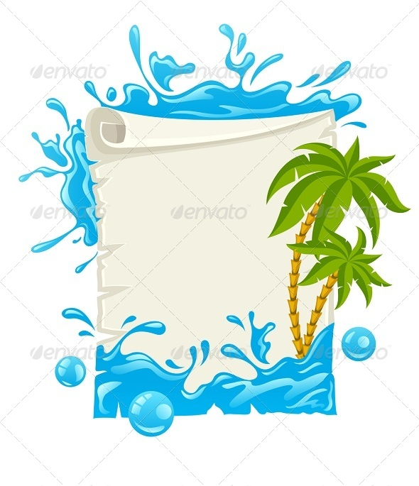GraphicRiver Travel Poster with Water Splashes and Palms 8190768