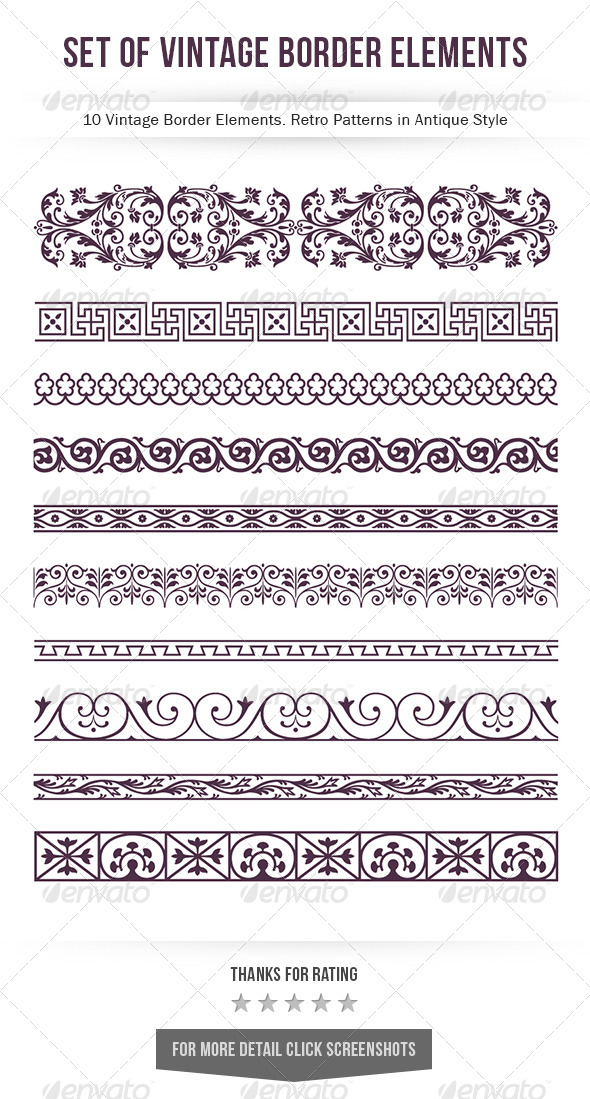 GraphicRiver Set of Vintage Border Elements 8190866