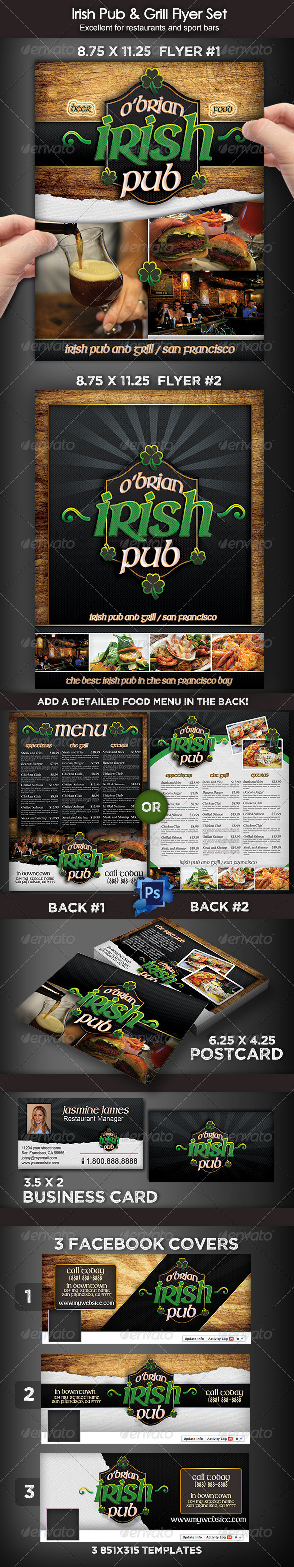 GraphicRiver Irish Pub & Grill Flyer Set 8191080