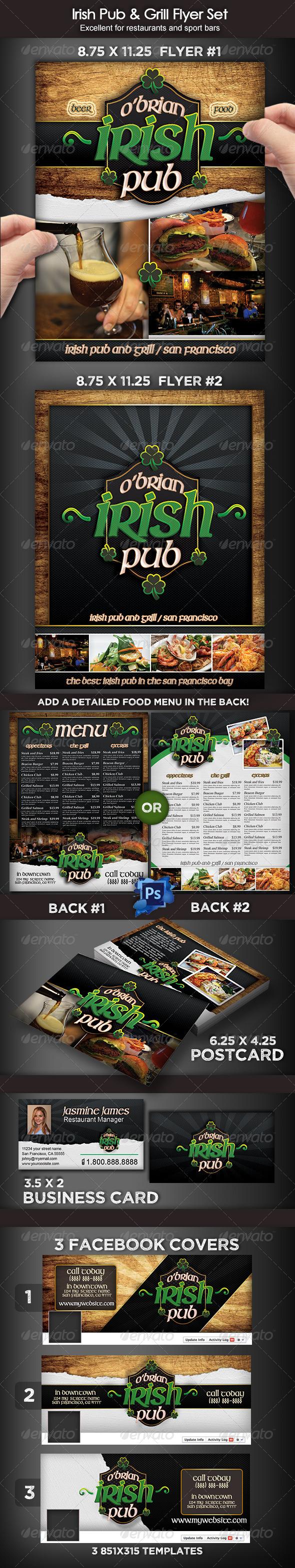 Irish Pub & Grill Flyer Set