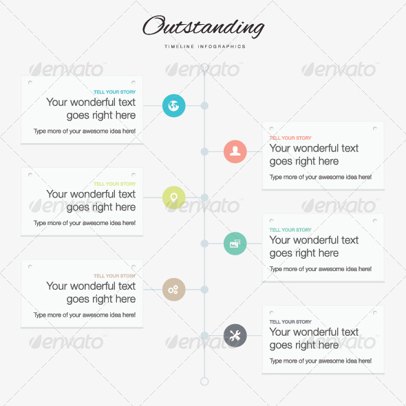 Flat Timeline Infographic Vector Template