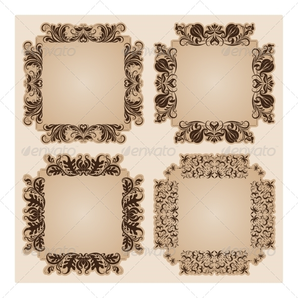 GraphicRiver Set of Frames for Design on Beige 8191352