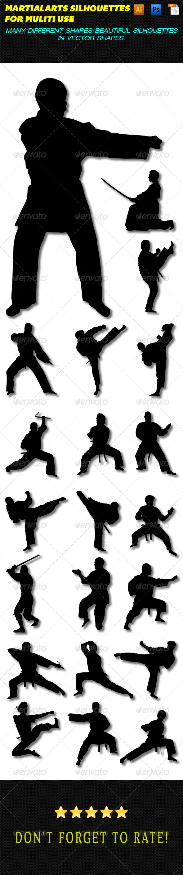 GraphicRiver Martial Arts Silhouettes 8191684