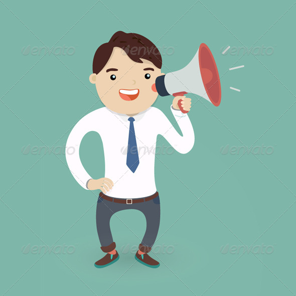 GraphicRiver Businessman Character with a Megaphone 8192258