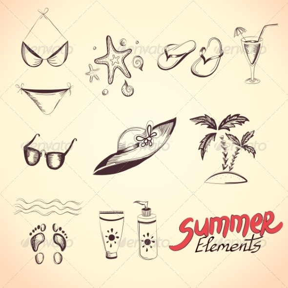 GraphicRiver Summer Elements for your Design 8192349