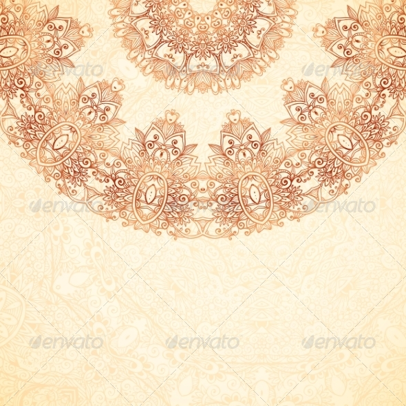 GraphicRiver Ornate Vintage Background in Mehndi Style 8192469