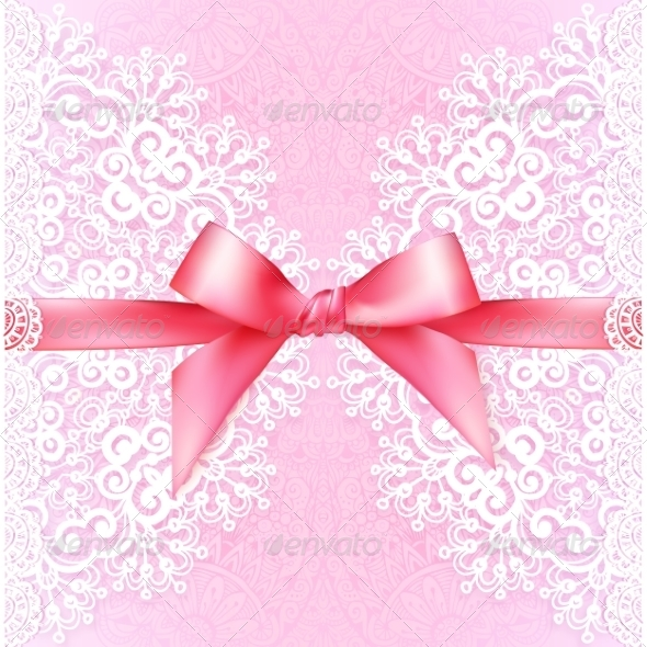 Vintage Wedding Card Template with Pink Bow