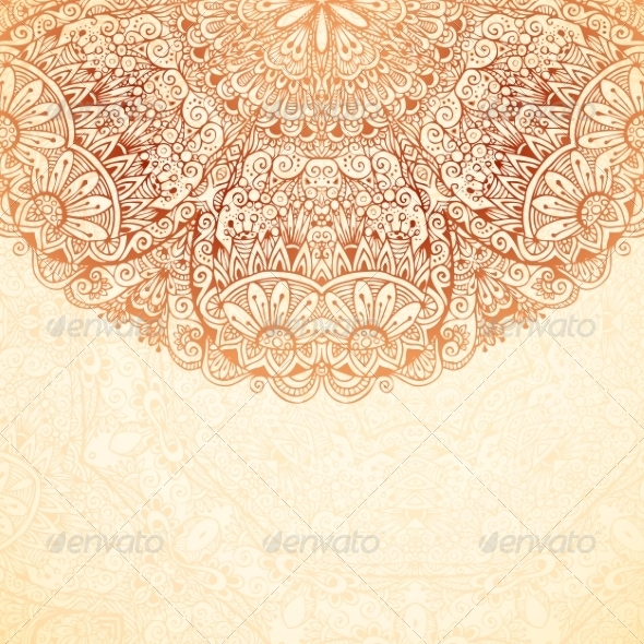 GraphicRiver Ornate Vintage Background in Mehndi Style 8192667