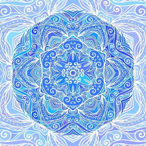 Blue Ornate Doodle Circle Background