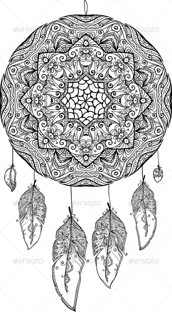 GraphicRiver Black and White Doodle Dream Catcher 8193084