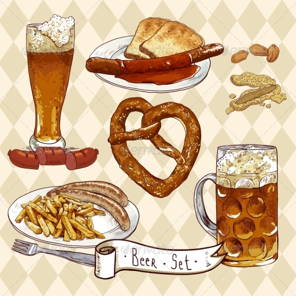 GraphicRiver Beer Set with Beer Glasses Pretzel and Sausages 8193116