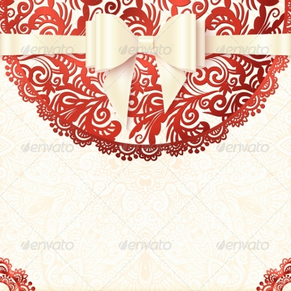 GraphicRiver White and Red Vintage Lacy Wedding Card 8193118