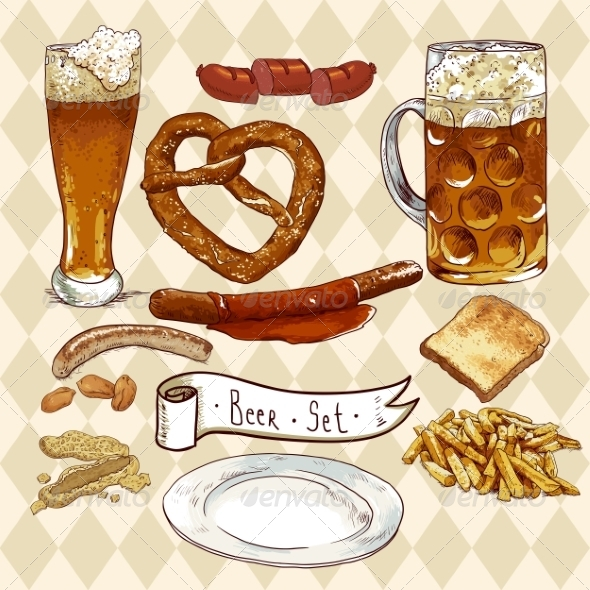 GraphicRiver Beer Set with Beer Glasses Pretzel and Sausages 8193121