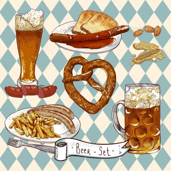 GraphicRiver Beer Set with Beer Glasses Pretzel and Sausages 8193125