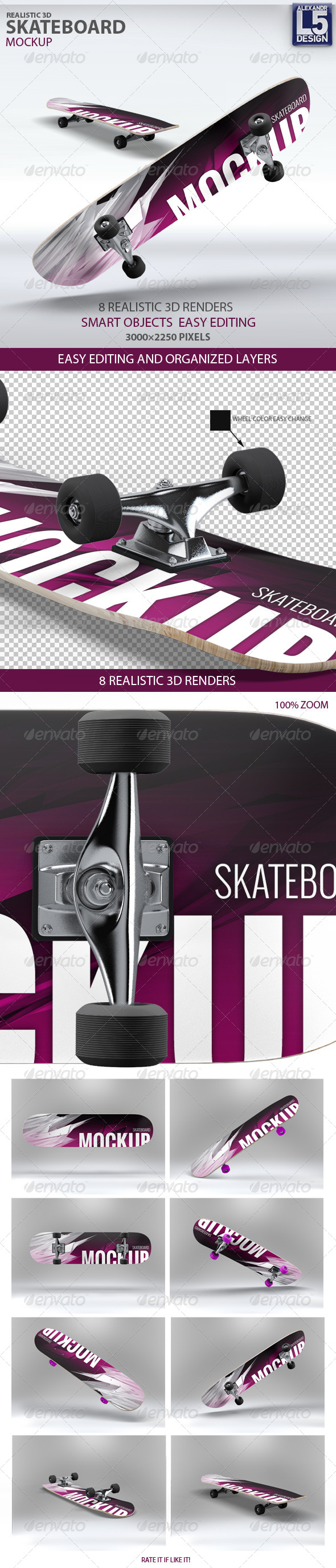 GraphicRiver Skateboard Mock-Up 8193198