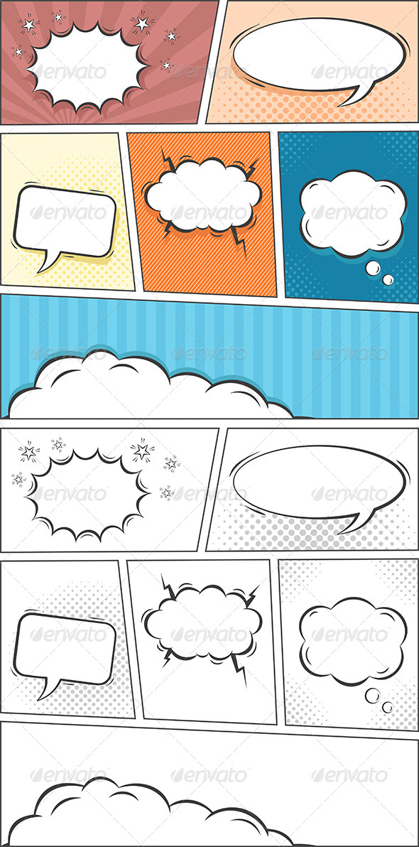 GraphicRiver Comic Speech Bubbles Background 8193329