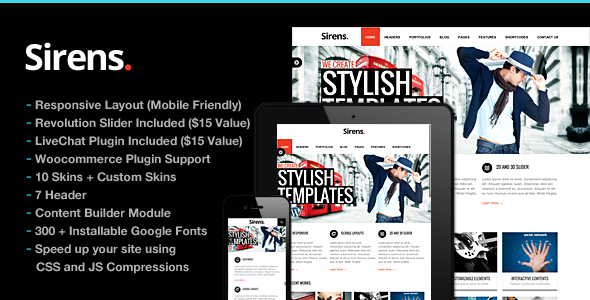 Sirens Multi-Purpose Stylish Business Theme - Business Corporate