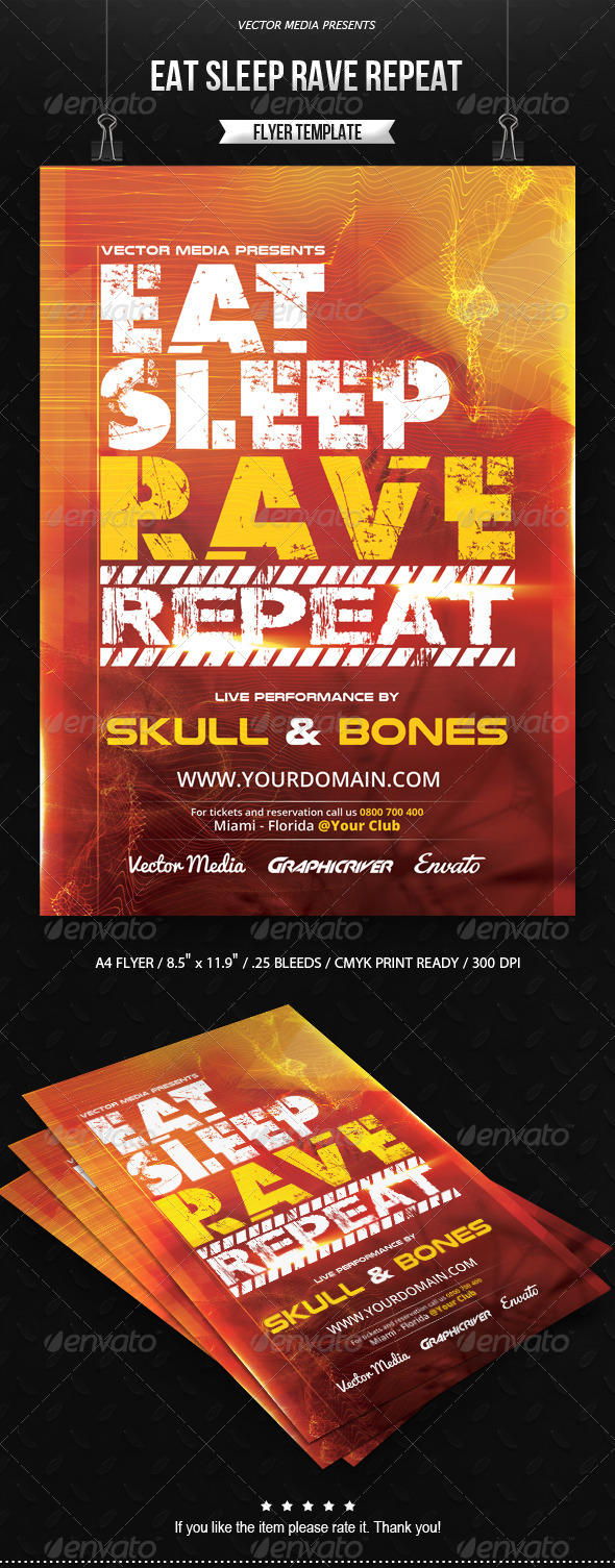 GraphicRiver Eat Sleep Rave Repeat Flyer 8193345