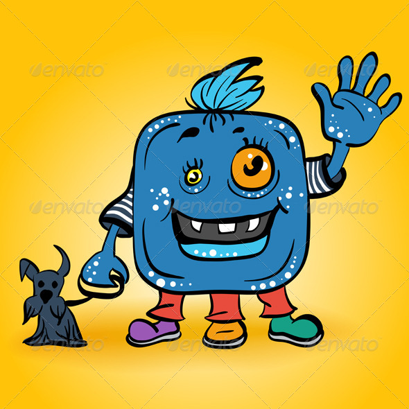 Cartoon Smiling Blue Monster
