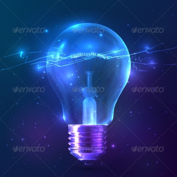 GraphicRiver Blue Shining Bulb with Lightning Inside 8193382