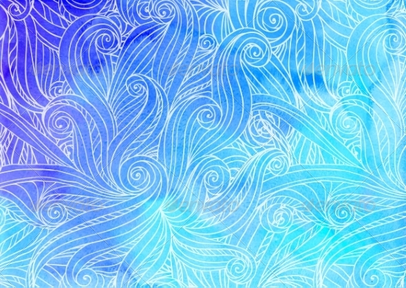 GraphicRiver Blue Watercolor Waves Background 8193443
