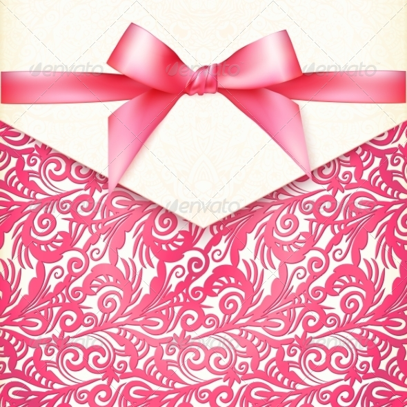 GraphicRiver Vintage Wedding Card Template with Pink Bow 8193468