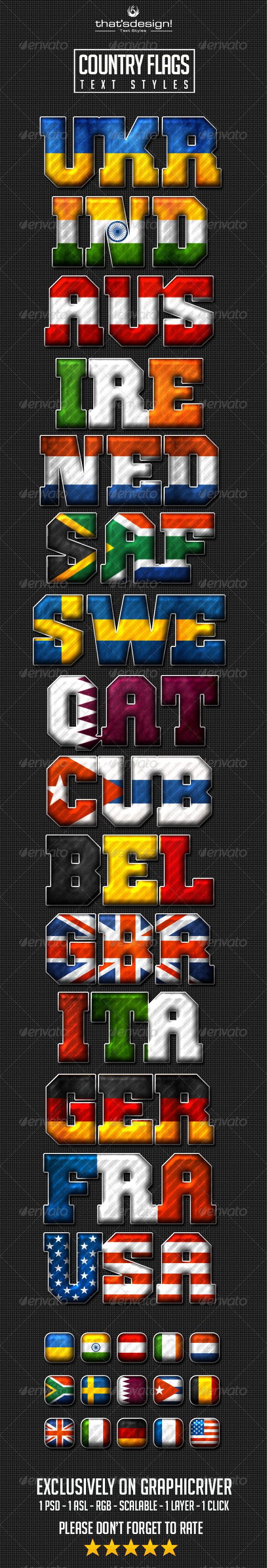 GraphicRiver 15 Country Flag Text Styles 8193488