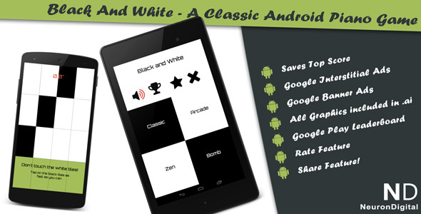 CodeCanyon Black and White A Classical Android Piano Game 8193670