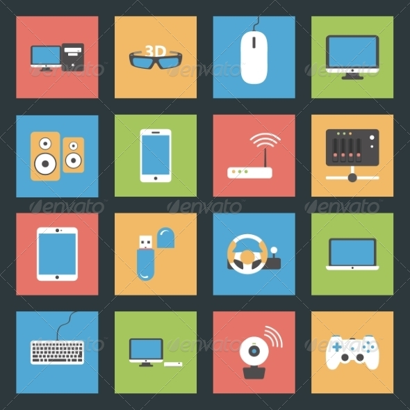 GraphicRiver Computers and Devices Flat Icons 8194042