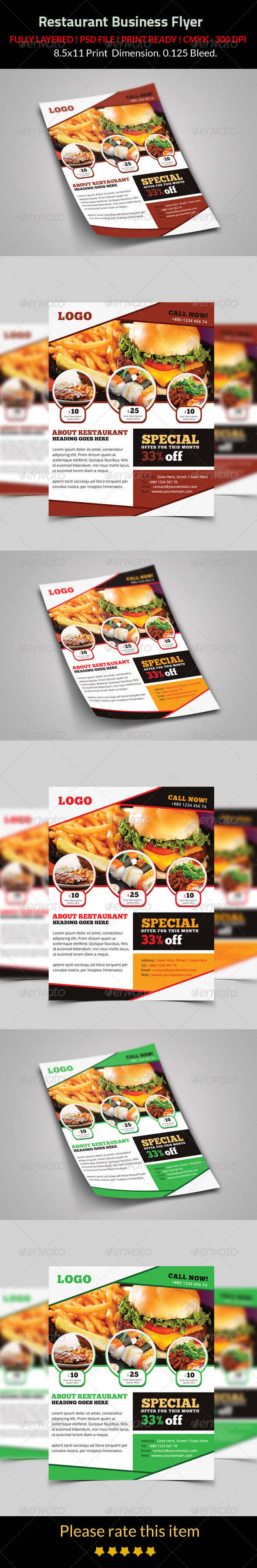 GraphicRiver Restaurant Business Flyer 8195022