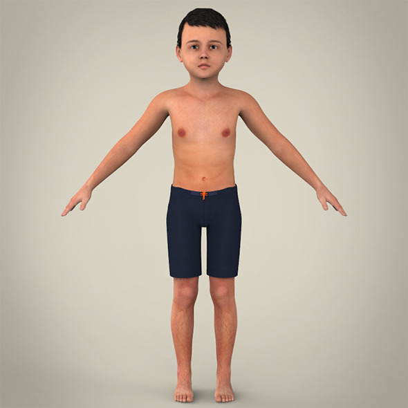 Realistic Child Boy - 3DOcean Item for Sale