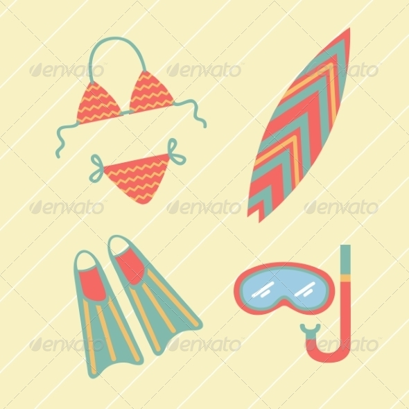 GraphicRiver Collection of Beach Summer Accessories 8196577