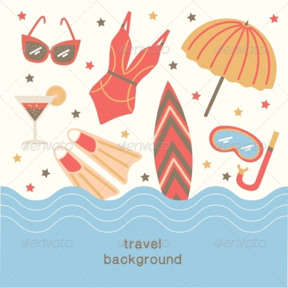 GraphicRiver Summertime Vacations and Traveling Background 8196584