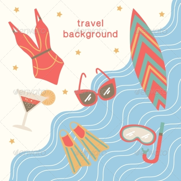 GraphicRiver Summertime Vacations and Traveling Background 8196593
